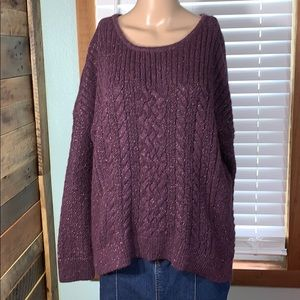 Sonoma High Low Pullover Sparkly Plum Sweater XL